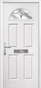 4 Panel 1 Arch Crystal Tulip Composite Front Door in White
