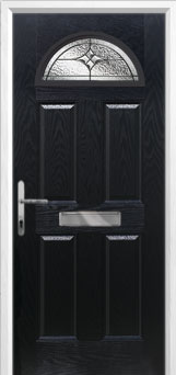 4 Panel 1 Arch Elegance Composite Front Door in Black