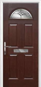 4 Panel 1 Arch Elegance Composite Front Door in Darkwood