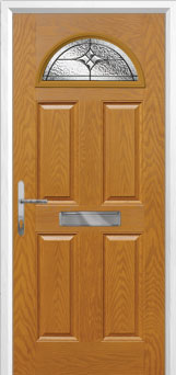 4 Panel 1 Arch Elegance Composite Front Door in Oak