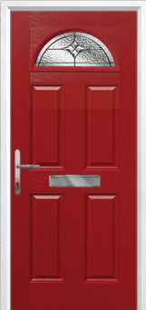 4 Panel 1 Arch Elegance Composite Front Door in Red