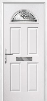 4 Panel 1 Arch Elegance Composite Front Door in White