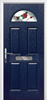 4 Panel 1 Arch English Rose Composite Front Door in Blue