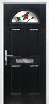 4 Panel 1 Arch English Rose Composite Front Door in Black