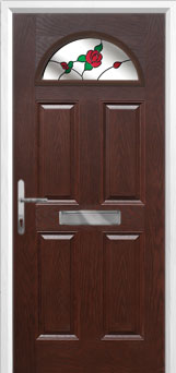 4 Panel 1 Arch English Rose Composite Front Door in Darkwood