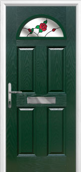 4 Panel 1 Arch English Rose Composite Front Door in Green