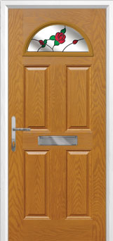 4 Panel 1 Arch English Rose Composite Front Door in Oak