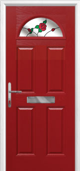 4 Panel 1 Arch English Rose Composite Front Door in Red