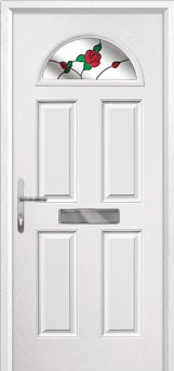4 Panel 1 Arch English Rose Composite Front Door in White