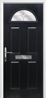 4 Panel 1 Arch Flair Composite Front Door in Black