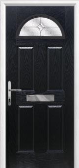 4 Panel 1 Arch Flair Composite Front Door in Black