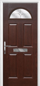 4 Panel 1 Arch Flair Composite Front Door in Darkwood