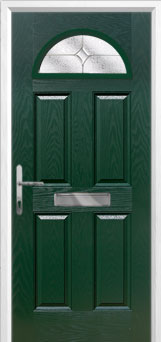 4 Panel 1 Arch Flair Composite Front Door in Green