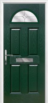 4 Panel 1 Arch Flair Composite Front Door in Green