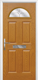 4 Panel 1 Arch Flair Composite Front Door in Oak