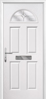 4 Panel 1 Arch Flair Composite Front Door in White