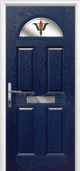 4 Panel 1 Arch Fleur Composite Front Door in Blue