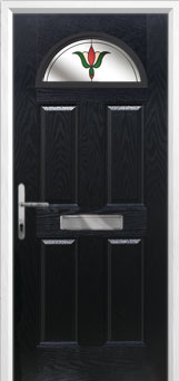 4 Panel 1 Arch Fleur Composite Front Door in Black