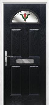4 Panel 1 Arch Fleur Composite Front Door in Black