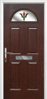 4 Panel 1 Arch Fleur Composite Front Door in Darkwood