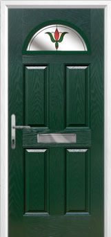 4 Panel 1 Arch Fleur Composite Front Door in Green
