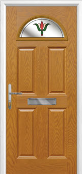 4 Panel 1 Arch Fleur Composite Front Door in Oak