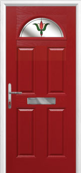 4 Panel 1 Arch Fleur Composite Front Door in Red