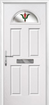 4 Panel 1 Arch Fleur Composite Front Door in White
