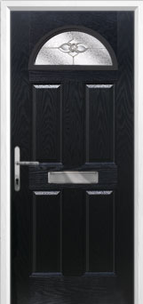 4 Panel 1 Arch Finesse Composite Front Door in Black