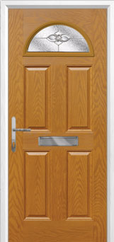 4 Panel 1 Arch Finesse Composite Front Door in Oak