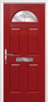 4 Panel 1 Arch Finesse Composite Front Door in Red