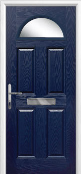 4 Panel 1 Arch Glazed Composite Front Door in Blue
