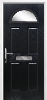 4 Panel 1 Arch Glazed Composite Front Door in Black