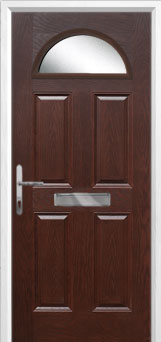 4 Panel 1 Arch Glazed Composite Front Door in Darkwood