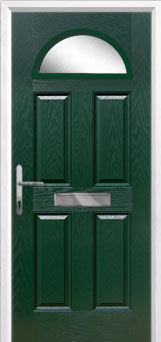 4 Panel 1 Arch Glazed Composite Front Door in Green