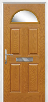 4 Panel 1 Arch Glazed Composite Front Door in Oak
