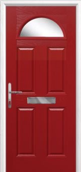 4 Panel 1 Arch Glazed Composite Front Door in Red