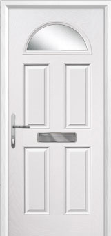 4 Panel 1 Arch Glazed Composite Front Door in White
