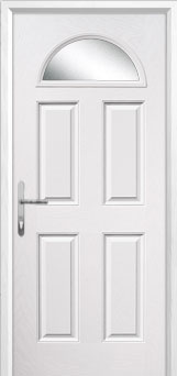 4 Panel 1 Arch Glazed Composite Back Door in White