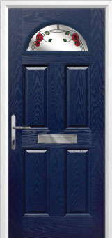 4 Panel 1 Arch Mackintosh Rose Composite Front Door in Blue