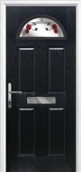 4 Panel 1 Arch Mackintosh Rose Composite Front Door in Black