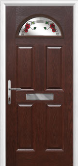 4 Panel 1 Arch Mackintosh Rose Composite Front Door in Darkwood