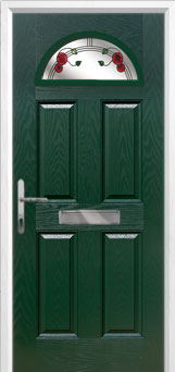 4 Panel 1 Arch Mackintosh Rose Composite Front Door in Green