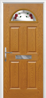 4 Panel 1 Arch Mackintosh Rose Composite Front Door in Oak