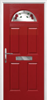 4 Panel 1 Arch Mackintosh Rose Composite Front Door in Red