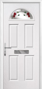 4 Panel 1 Arch Mackintosh Rose Composite Front Door in White