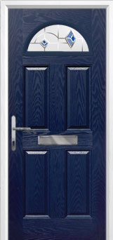 4 Panel 1 Arch Murano Composite Front Door in Blue