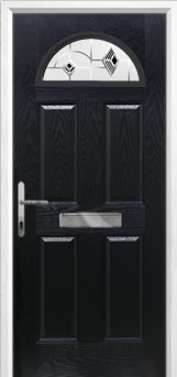 4 Panel 1 Arch Murano Composite Front Door in Black