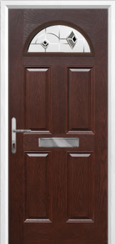 4 Panel 1 Arch Murano Composite Front Door in Darkwood