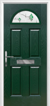 4 Panel 1 Arch Murano Composite Front Door in Green